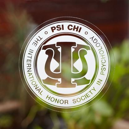 Psi Chi Round Decal on Window