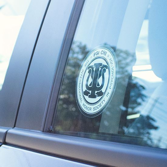 Psi Chi Round Decal in Car Window